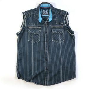 DRILL NYC Large Sleeveless Shirt Button Front